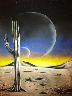 Desert Sunset Drawing - Remnants by Benjamin Gassmann