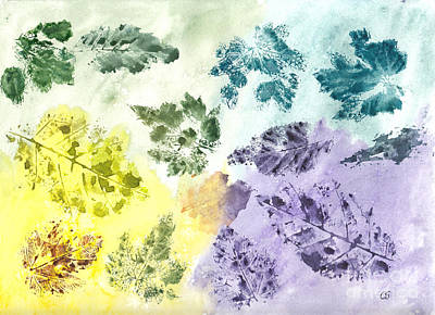 Painting - Remnants Of Autumn Leaves by Conni Schaftenaar