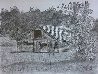 Drawing - Remote Cabin by Tony Clark