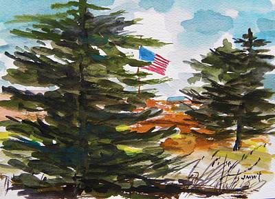 Old Glory Drawing - Remote Glory by John Williams