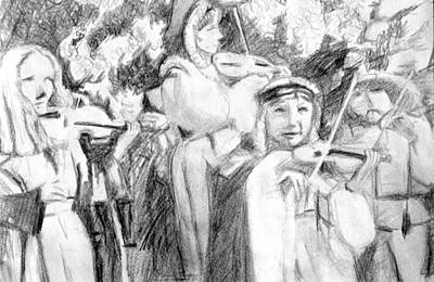 Drawing - Ren Fest Musicians by Rachel Rose