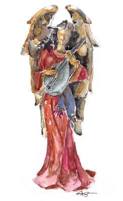 Lute Painting - Renaissance Angel by Claudia Hafner