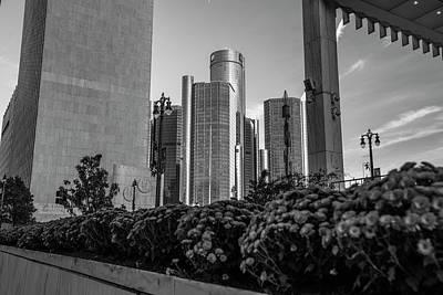 Photograph - Renaissance Center And Flowers Detroit  by John McGraw
