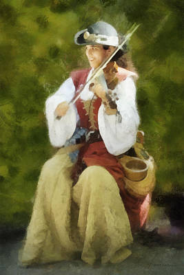 Digital Art - Renaissance Fiddler Lady by Francesa Miller