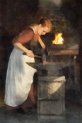 Renaissance Lady Blacksmith Art Print