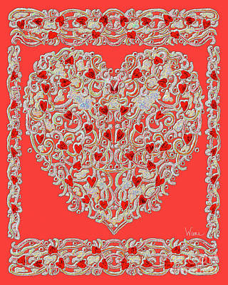 Digital Art - Renaissance Style Heart by Lise Winne