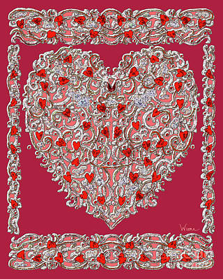 Digital Art - Renaissance Style Heart With Dark Red Background by Lise Winne