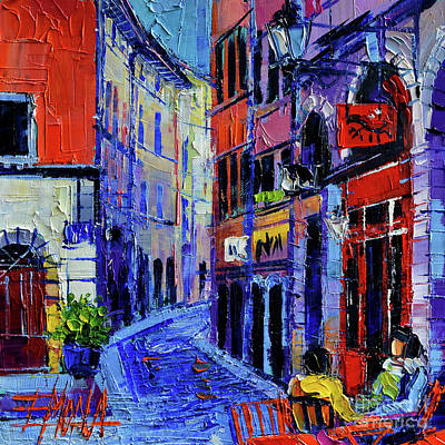 Cafe Terrace Painting - Rendez Vous In Vieux Lyon by Mona Edulesco
