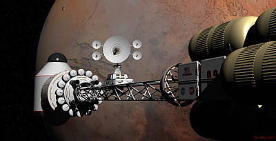 Print featuring the digital art Rendezvous At Mars by David Robinson