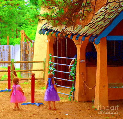 Photograph - Renfest Girls Visit Stable - A Fairy Tale Paintograph by Christine S Zipps