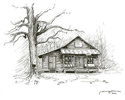 Drawing - Reno Sharpe Store by Timothy Tron