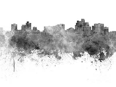 Reno Skyline In Black Watercolor On White Background Art Print