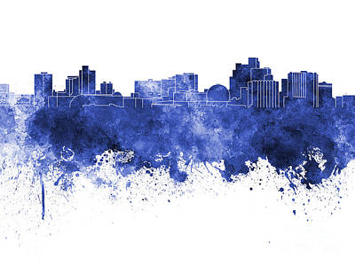 Reno Skyline In Blue Watercolor On White Background Art Print