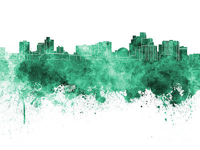 Reno Skyline In Green Watercolor On White Background Art Print