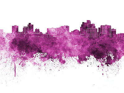 Reno Skyline In Pink Watercolor On White Background Art Print