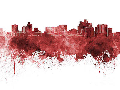 Reno Skyline In Red Watercolor On White Background Art Print
