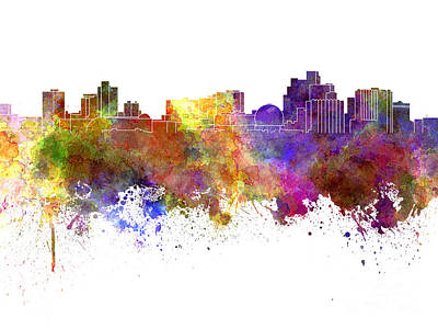 Reno Skyline In Watercolor On White Background Art Print