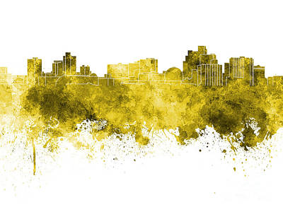 Reno Skyline In Yellow Watercolor On White Background Art Print