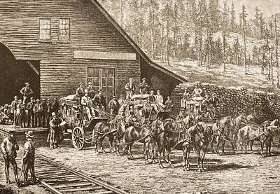 Stagecoach Drawing - Reno Station Nevada On The Central by Vintage Design Pics