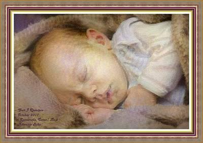 Thomas Kinkade - Renoircalia Catus 1 No. 2 - Adorable Baby L A With Decorative Ornate Printed Frame. by Gert J Rheeders