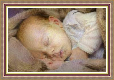 Farm Life Paintings Rob Moline - Renoircalia Catus 1 No. 2 - Adorable Baby L B With Decorative Ornate Printed Frame. by Gert J Rheeders
