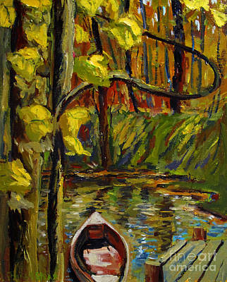 Renoirs Boat On Sunny Yellow Pond Original by Charlie Spear