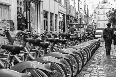 Photograph - Rental Bikes In Paris by Patricia Hofmeester