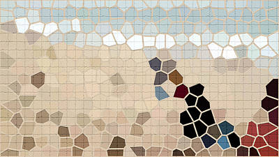 Beaver Mixed Media - Repair The Cracks In Beau Blue, Carmine And Camel Colors For Tile Series Two by I'lona Tunnel