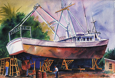 Shrimper Painting - Repairs by Chuck Creasy