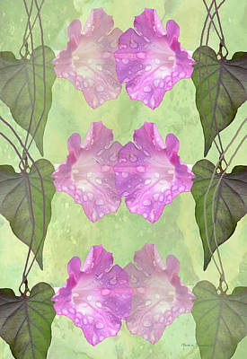 Mixed Media - Repeated Morning Glories by Rosalie Scanlon