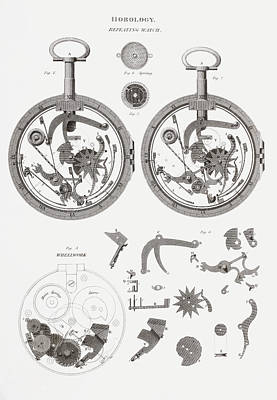 Mechanism Drawing - Repeating Watch. From The Cyclopaedia by Vintage Design Pics