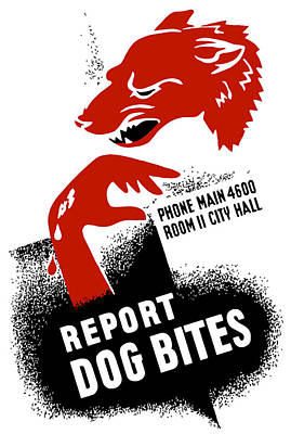 Biting Mixed Media - Report Dog Bites - Wpa by War Is Hell Store