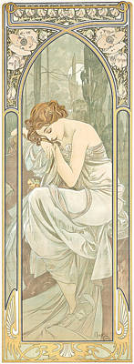 Green Fairy Painting - Repos De La Nuit by Alphonse Marie Mucha