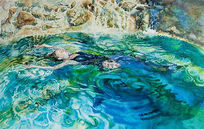 Floating Girl Painting - Repose In A Pool In France by Gilly Marklew