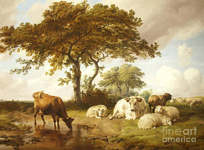 Repose In The Meadows, Art Print by Thomas Sidney Cooper