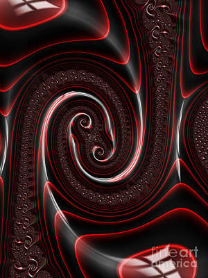 Fantasy Digital Art - Repousse in Ruby and Jet by John Edwards