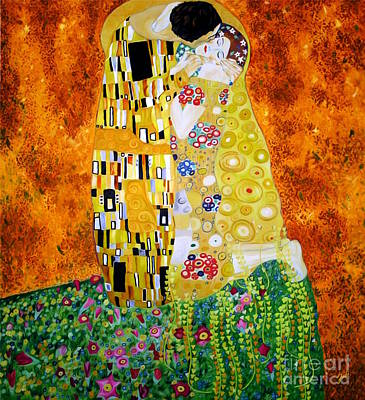 Painting - Reproduction Of The Kiss By Gustav Klimt by Zedi