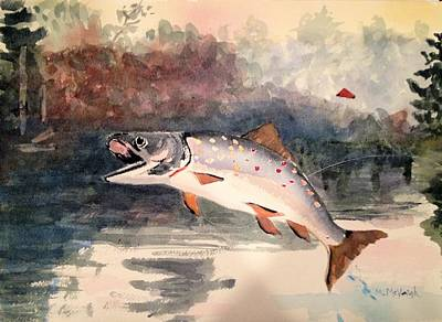 Reproduction Of Winslow Homer Leaping Trout Art Print by Marita McVeigh