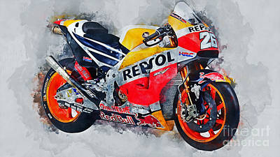 Tattoo Art Mixed Media - Repsol Honda Rc213v  by Ian Mitchell