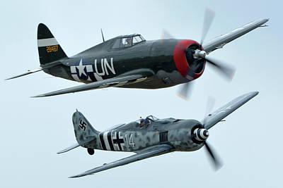 Republic P-47g Thunderbolt Nx3395g Focke Wulf Fw 190a-9 N190rf Chino California April 30 2016 Art Print by Brian Lockett