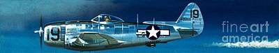 Airplane Painting - Republic P-47n Thunderbolt by Wilf Hardy