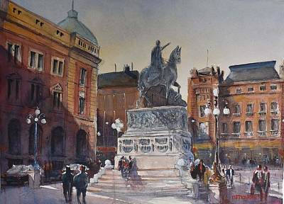 Belgrade Painting - Republic Square Belgrade by Milos Petkovic