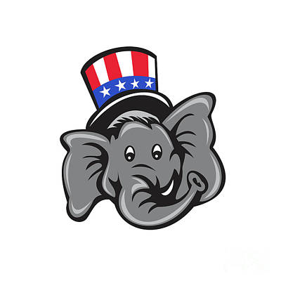 Digital Art - Republican Elephant Mascot Head Top Hat Cartoon by Aloysius Patrimonio