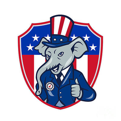 Digital Art - Republican Elephant Mascot Thumbs Up Usa Flag Cartoon by Aloysius Patrimonio
