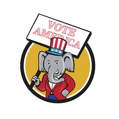Digital Art - Republican Elephant Mascot Vote America Circle Cartoon by Aloysius Patrimonio