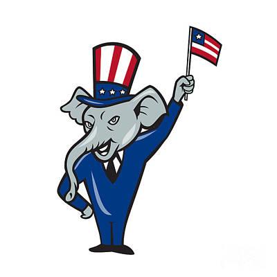 Waving Flag Digital Art - Republican Mascot Elephant Waving Us Flag Cartoon by Aloysius Patrimonio