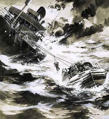 Pulley Painting - Rescue At Sea by Wilf Hardy