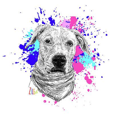 Digital Art - Rescue Dog @arwenunaperradoptada by ZileArt