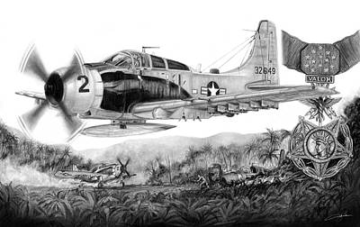 Vietnam War Drawing - Rescue At A Shau by Dale Jackson