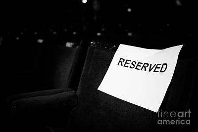 Handmade Book Photograph - Reserved Sign On A Seat In A Row Of Seats In The Stalls Of An Old Style Theatre by Joe Fox